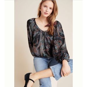 Maeve by Anthropologie Black Print Top Size S